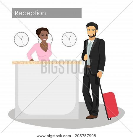 Vector illustration of manager and customer at hotel reception desk. Concierge service. Man arrival or check in at lobby. African American beautiful girl at reception