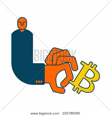 Bitcoin And Businessman. Cancellation Of Cryptocurrency Business Situation. Cancel Of Virtual Money.
