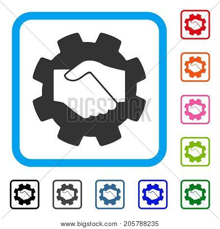 Smart Contract Handshake icon. Flat grey iconic symbol in a light blue rounded rectangular frame. Black, gray, green, blue, red, orange color additional versions of Smart Contract Handshake vector.