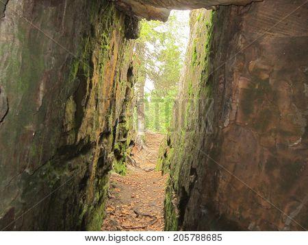 Description: Landscape nature sanctuary `The stone city` in Perm Krai