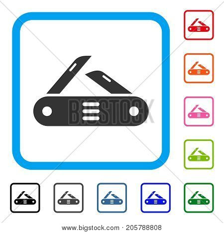 Swiss Multitool Knife icon. Flat gray iconic symbol in a light blue rounded frame. Black, gray, green, blue, red, orange color additional versions of Swiss Multitool Knife vector.