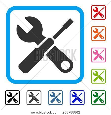 Tuning Tools icon. Flat grey pictogram symbol in a light blue rounded rectangle. Black, gray, green, blue, red, orange color additional versions of Tuning Tools vector.