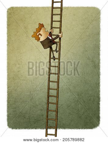 illustration of Businessman climbing up a ladder