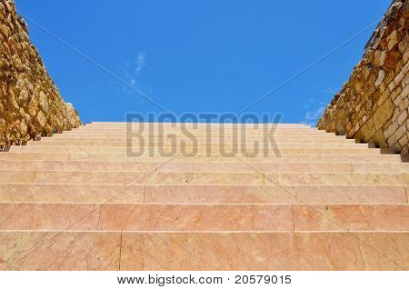 a view of stairway with the sky at the end, as stairway to heaven