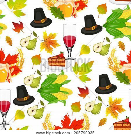 Thanksgiving seamless pattern background autumn pumpkin traditional holiday food harvest celebration vector illustration. Holiday thanksgiving turkey apple family dinner traditiona food celebration.