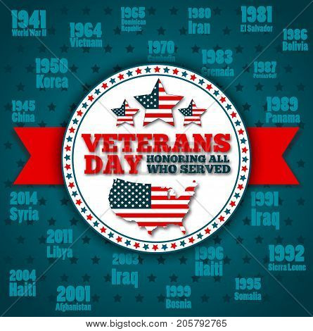 Veterans day greeting card template. National american holiday vector illustration with USA patriotic elements. Honoring all who served festive poster.