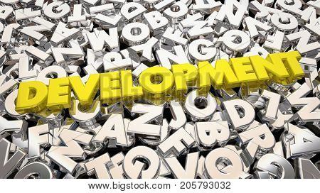 Development Process Word Letters Developing Product 3d Illustration