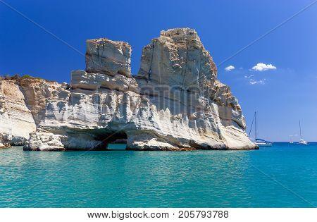The famous cove of Kleftiko, Milos island, Cyclades, Greece
