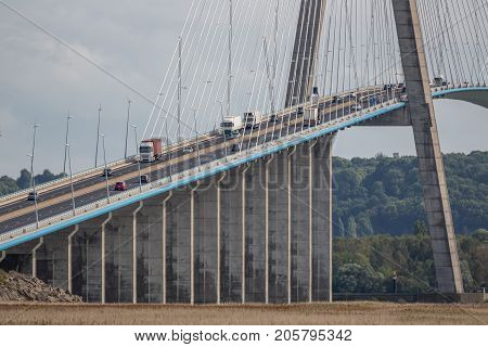 Pont de Normandie bridge crossing river Seine near Le Havre in France