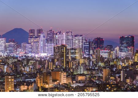 Tokyo, Japan skyline with Mt. Fuji.