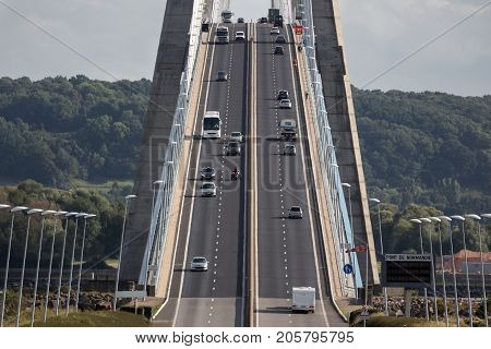 Traffic at Pont de Normandie bridge over river Seine near Le Havre in France
