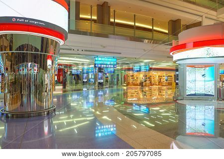 DUBAI, UAE - CIRCA NOVEMBER, 2015: inside Dubai International Airport. It is the world's busiest airport by international passenger traffic.