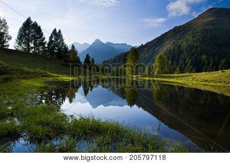 Lake with mountain forest landscape-Monte Avaro-Alpi Orobie