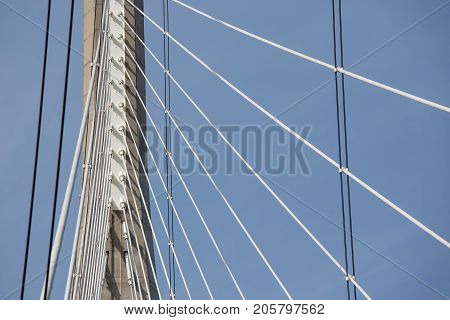 Pylon with steel cables from French bridge Pont de Normandie over river Seine