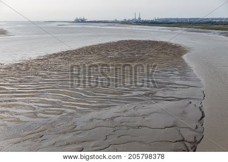 Sandbank in river Seine near harbor of Le Havre in France