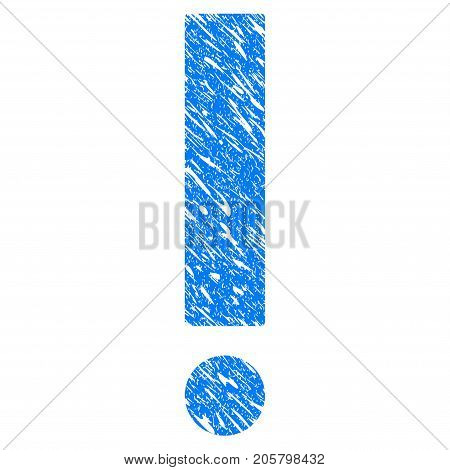 Grunge Exclamation Sign icon with grunge design and unclean texture. Unclean vector blue exclamation sign pictogram for rubber seal stamp imitations and watermarks. Draft sticker symbol.