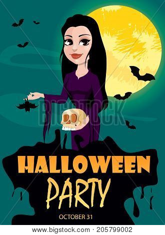 Happy Halloween party invitation. Beautiful lady in gothic style wearing black long dress. Cartoon character for design of posters banners placards on October 31. Vector stock