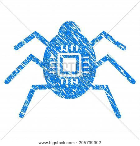 Grunge Hardware Bug icon with grunge design and unclean texture. Unclean vector blue hardware bug pictogram for rubber seal stamp imitations and watermarks. Draft sticker symbol.