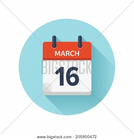 March 16. Vector flat daily calendar icon. Date and time, day, month 2018. Holiday. Season.