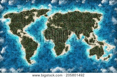 Lush green ecologically pristine world map with forested continents, golden beaches and a texture blue sea with fluffy white clouds in a conceptual illustration. 3d Rendering.