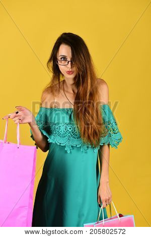 Woman Wears Fashionable Dress. Girl With Smart Glasses