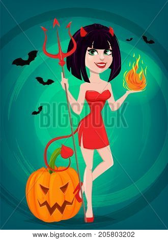 Devil girl for Halloween. Sexy she-devil with trident in one hand and flame in another standing near pumpkin. Horned cartoon character. Vector illustration on beautiful background.