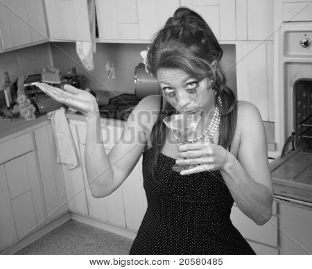 Weeping Woman Having A Drink