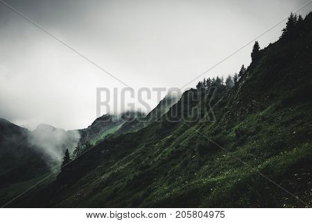 Gloomy cloudy rugged mountain landscape with pine trees lining the ridges on the range and steep valleys shrouded in mist and cloud