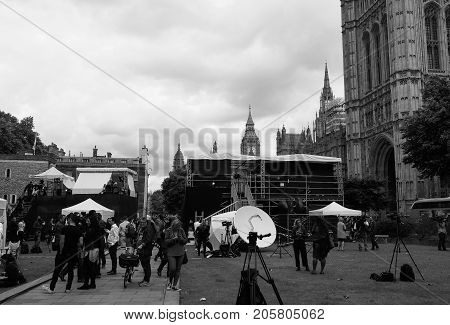 Press In Westminster, London Black And White