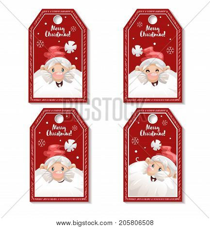 Set of cartoon red Christmas tag or label with laughing and smiling Santa Claus in hat. Xmas gift tag invitation banner sale or discount poster.
