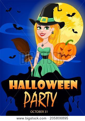 Halloween greeting card. Beautiful lady witch wearing pilgrim hat and holding broom and pumpkin. Cartoon character on background of moon and night sky. Vector stock