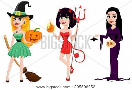 Halloween. Set of three girls for holiday witches and devil girl. Cartoon characters. Vector illustration.