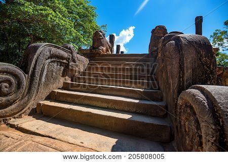 Staircase to Royal Court of king Parakramabahu in Polonnaruwa, Sri Lanka
