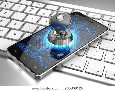 Cyber security, information privacy concept - Phone with Key on computer keyboard. 3d rendering