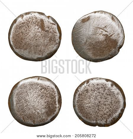 Old rusty nail heads, isolated on white.