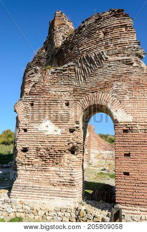 Side view of archaeological remains of the Red Church near Perushtitsa, Bulgaria, 5-th century
