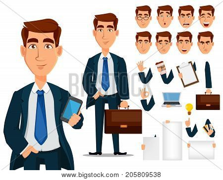 Business man in formal suit cartoon character creation set. Young handsome smiling businessman in office style clothes. Build your personal design - stock vector