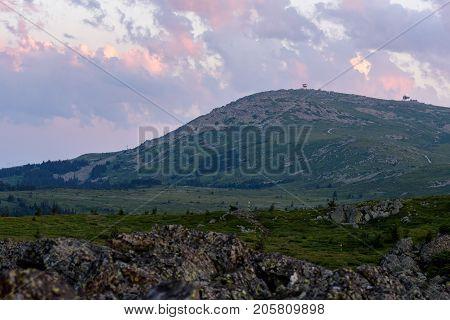 Sunset scenery of Vitosha national park, Bulgaria and the vast expanse