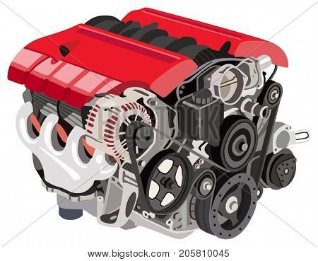 Automotive Turbo Engine perspective view illustration with all parts of new car