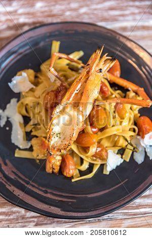 Giant Tiger Prawn Pasta, Italian groumet cuisine
