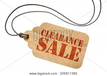 clearance sale sign  - a paper price tag with twine isolated on white- shopping concept poster
