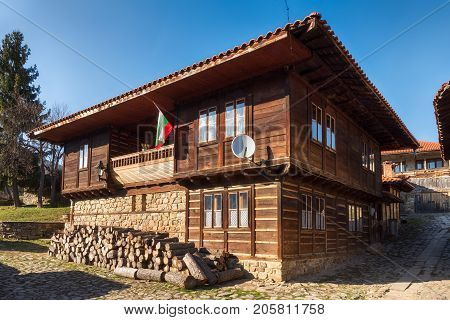 Old traditional paneled house in Kotel, Bulgaria