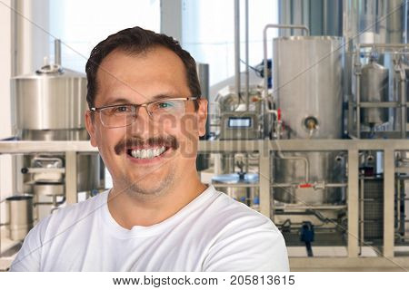Smiling man in glasses poses in modern beer factory captive shop, collage