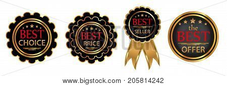 Collection four vector badges Best choice Bestseller Best price Best offer . Vector illustration.