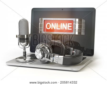 Online support concept. Laptop with microphone, headphones and lightbox with text online isolated on white background. 3d illustration