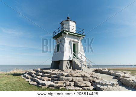 Port Clinton lighthouse with a blue sky background