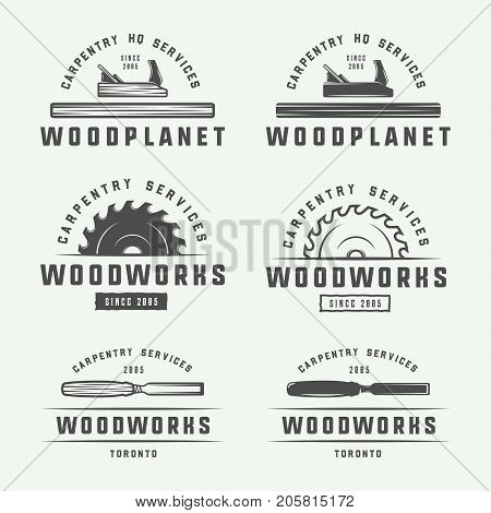 Set of vintage carpentry woodwork and mechanic labels badges emblems and logo. Vector illustration. Monochrome Graphic Art.