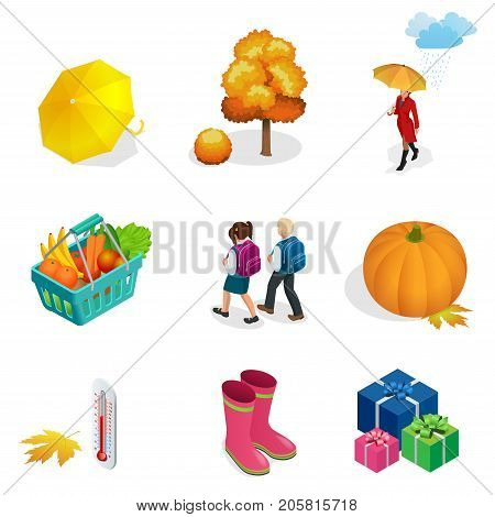 Isometric Autumn icon and objects set for design pumpkin, thermometer, woman with an umbrella in the rain, children with school backpacks, autumn tree, rubber boots, basket with vegetables and fruits.