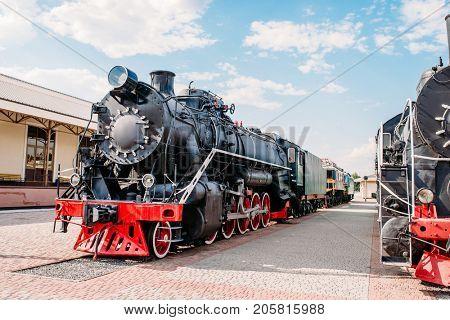 Old steam train, vintage locomotive