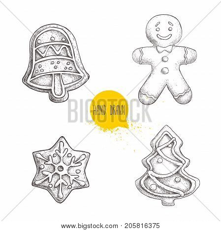 Hand drawn sketch traditional Christmas cookies set. Hand bell. gingerbread men snowflake and christmas tree. Collection of vector hand made illustration.